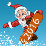Santa Claus makes jump on the snowboard Royalty Free Stock Image