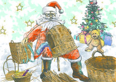 Santa Claus making baskets Stock Images