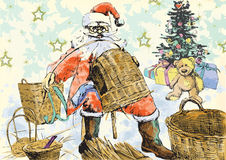 Santa Claus making baskets. Santa Claus himself made gifts - making baskets (handmade Christmas gifts are the best !) Editable in several layers. Number of royalty free illustration