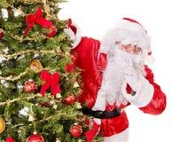 Santa Claus  making silence gesture. Royalty Free Stock Photos