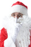 Santa Claus is making silent with finger Stock Photos