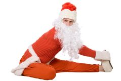 Santa Claus is making yoga Royalty Free Stock Photo