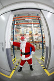 Santa claus manager in storehouse Stock Images