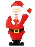 Santa Claus mangia il gelato Illustrazione di vettore isolata su priorità bassa bianca Santa Claus in uno stile del fumetto Immagine Stock Libera da Diritti