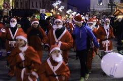 Santa Claus many. Christmas market in Banska Bystrica royalty free stock image