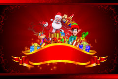 Santa claus with many gift on red background Royalty Free Stock Photo