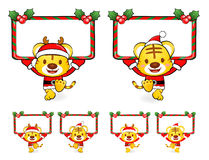 Santa Claus Mascot using a variety of banner Stock Images