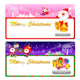 Santa Claus Mascot using a variety of banner designs. Christmas Royalty Free Stock Photo