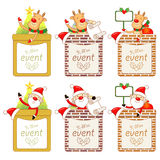 Santa Claus Mascot using a variety of banner designs. Christmas Stock Photo