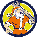 Santa Claus Mechanic Spanner Circle Cartoon Lizenzfreie Stockfotos