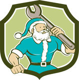 Santa Claus Mechanic Spanner Shield Cartoon Stock Image