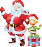 Santa Claus med älvan Arkivbilder