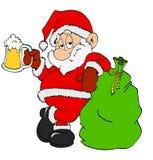 Santa Claus med öl royaltyfri illustrationer
