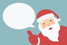 Santa Claus med anförandebubblan och handen dunkar upp Arkivfoto