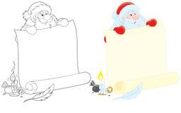 Santa Claus med annonsen Royaltyfria Bilder