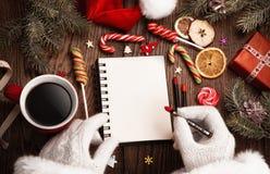 Santa Claus med den öppna notepaden Arkivbilder