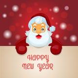 Santa Claus med den stora skylten Arkivbild