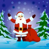 Santa Claus med den stora skylten Arkivfoton