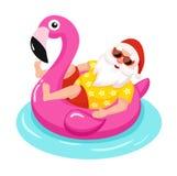 Santa Claus med den uppblåsbara cirkeln för flamingo tropisk jul också vektor för coreldrawillustration Royaltyfria Bilder