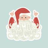 Santa Claus med det lockiga skägget som pekar upp på blå bakgrund royaltyfri illustrationer