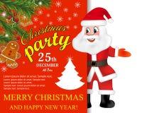 Santa Claus med det stora skyltjulpartiet letters amerikansk för färgexplosionen för kortet 3d ferie för hälsningen för flaggan n royaltyfri illustrationer