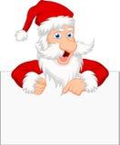 Santa Claus med det tomma tecknet Arkivbild