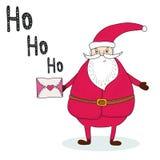 Santa Claus med en bokstav retro bakgrundslyckönskan Tryckbar mall Arkivbilder