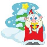 Santa Claus med en julgåva i hans händer stock illustrationer