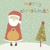 Santa Claus med en magisk påse av gåvor för childr Arkivbild