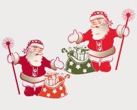 Santa Claus med en påse vektor illustrationer