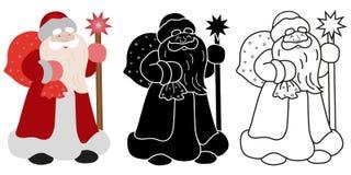 Santa Claus med en påse av gåvor och pinnen stock illustrationer