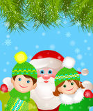 Santa Claus med en pojke och en flicka. vektor illustrationer