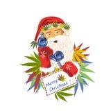 Santa Claus med en rörtelefon med cannabissidor lyckliga santa stock illustrationer