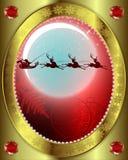 Santa Claus med en ren på bakgrund av månen stock illustrationer