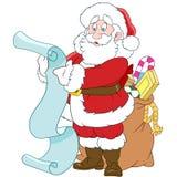 Santa Claus med en snirkel och en säck av gåvor Arkivfoto