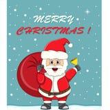 Santa Claus med en tecknad film för kort för gåvapåsejul Arkivbilder