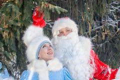 Santa Claus med ett långt skägg och fröcken Fotografering för Bildbyråer