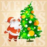 Santa Claus med exponeringsglas dekorerar en julgran Royaltyfri Bild