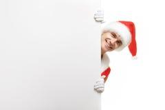 Santa Claus med försäljningar för ett baner Arkivbild