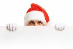 Santa Claus med försäljningar för ett baner Royaltyfri Fotografi