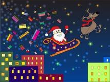 Santa Claus med gåva som kommer till staden vektor illustrationer