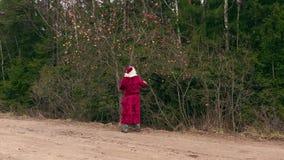 Santa Claus med gåvapåsen nära äppleträd i trän stock video