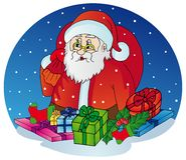 Santa Claus med gåvor Royaltyfri Bild