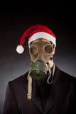 Santa Claus med gasmasken Royaltyfria Foton