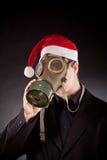 Santa Claus med gasmasken Royaltyfri Fotografi