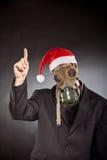 Santa Claus med gasmasken Fotografering för Bildbyråer