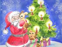 Santa Claus med gulliga valpar och trädet stock illustrationer