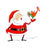 Santa Claus med hanen Fotografering för Bildbyråer
