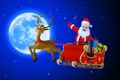Santa Claus med hans röda kulöra sleigh Fotografering för Bildbyråer
