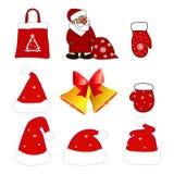 Santa Claus med hatten, handskar, påsen och den guld- klockan med den röda pilbågen också vektor för coreldrawillustration Arkivfoton